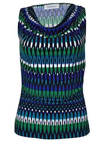Calvin Klein Women's Printed Pintuck Shirt Atlantis Multi PM