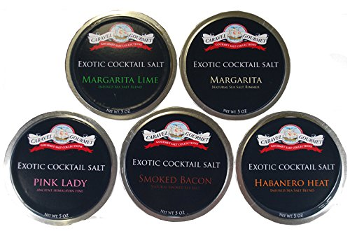 All Natural Cocktail Salt Collection 5 Stackable Jars Of Exotic Cocktail Glass Rimming Salts Margarita Lime Margarita Himalayan Pink Lady Smoked Bacon & Habanero Heat Gluten Free No-MSG Non GMO 25 Oz