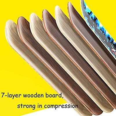 HYE-SPORT 7-Layer Maple Skateboard Deck, 31-inch Complete Skateboard Professional Skateboard, with Double Kick Board for Children Boys and Young Beginners, with Flash Wheel Concave Design: Home & Kitchen