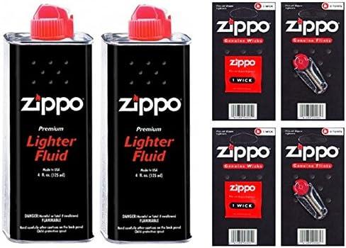 Zippo Lote de botes de gas para rellenar mecheros (2 unidades, incluye 12 sílex y 2 mechas)
