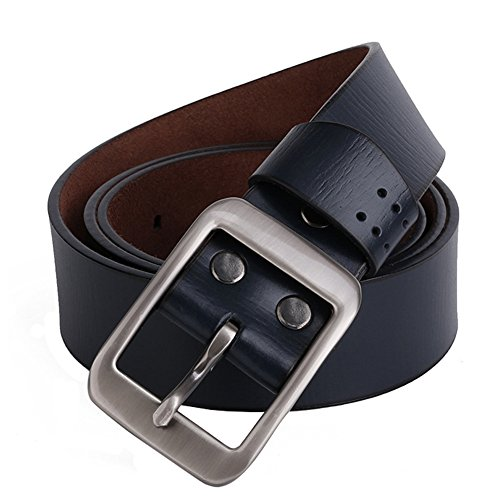 Real Blue Denim (H&W Real Leather Belt Jeans Pin Buckle Belt For Mens Blue)