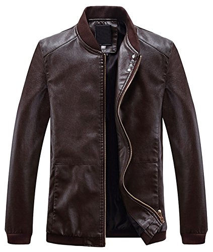 Youhan Men's Slim Full-Zip Coat Faux Leather Baseball Bomber Jacket (Medium, Coffee)