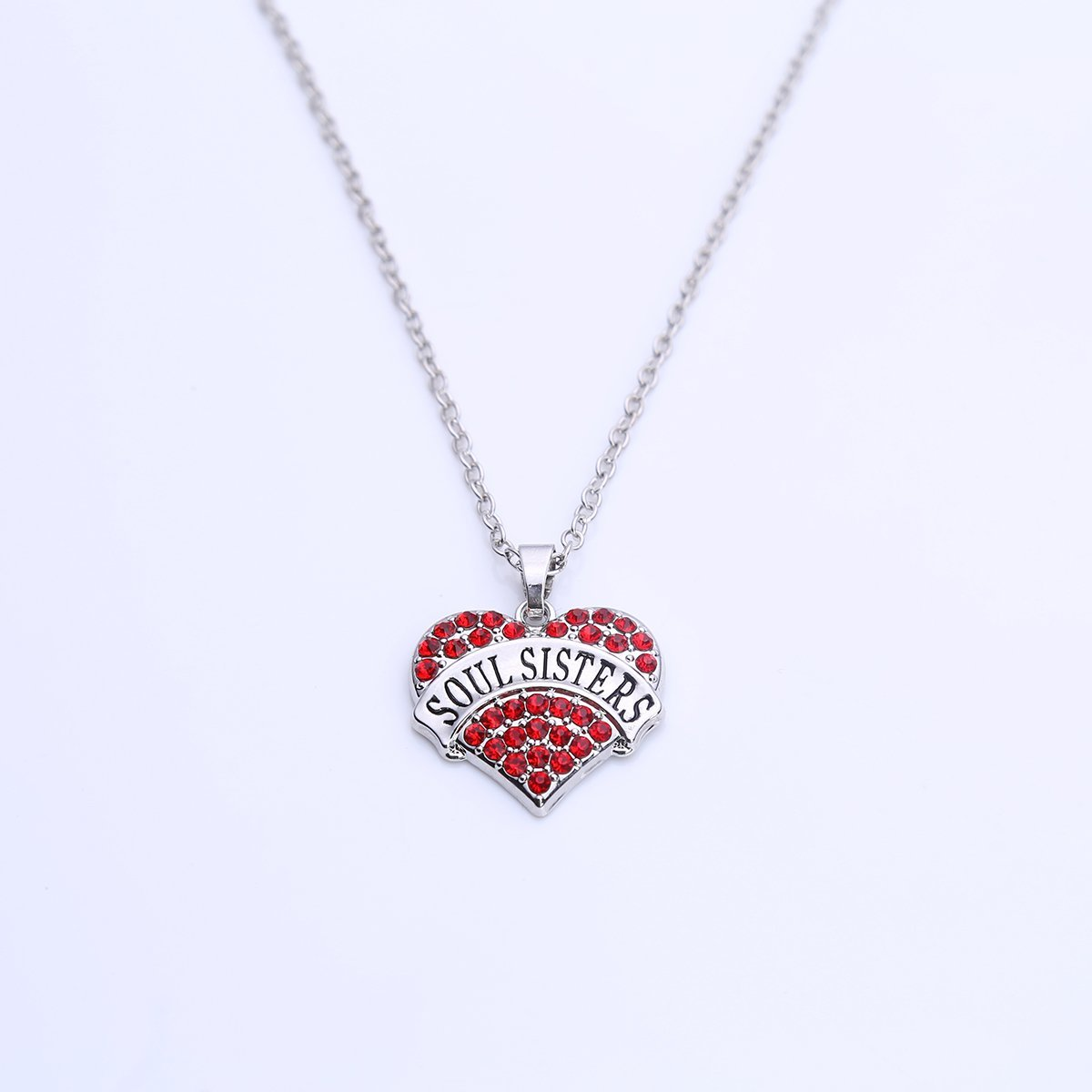 Sister Big SIS Middle SIS Little SIS Lil SIS Baby SIS Soul Sisters Crystal Heart Link Chain Necklace