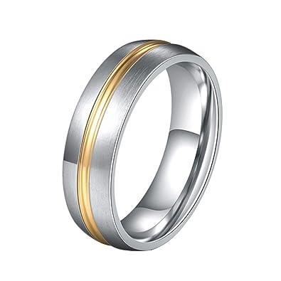 44c828fcd090 LAVYINGY 6MM Anillo de Boda clásico Plateado Oro del Anillo de Acero  Inoxidable Plateado Oro  Amazon.es  Joyería