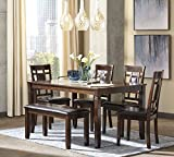 country kitchen table with bench Ashley Furniture Signature Design - Bennox Dining Room Table and Chairs with Bench (Set of 6) - Brown