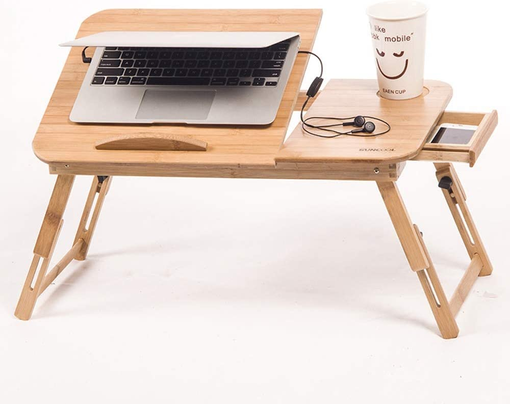 Etc Laptop Table Adjustable Laptop Desk Table 100/% Bamboo With USB Fan Foldable Breakfast Serving Bed Tray Suitable For Home Home Office Foldable Laptop Table Color : Natural , Size : 643427cm