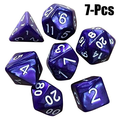 Joyibay Polyhedral Dice Toy, 7PCS Table Dice Double Color Acrylic Party Supply Game Dice