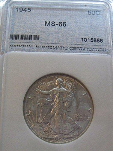 1945 silver Walking Liberty Half Dollar MS66
