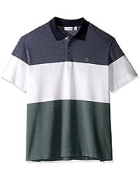 Lacoste Men's Short Sleeve Textured Pique 3 Block Stripe...