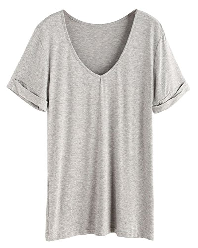 SheIn Women's Summer Short Sleeve Loose Casual Tee T-Shirt Grey#5 Large ()