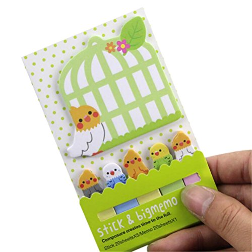WWahuayuan 1 Pcs Lovely Cage Pattern Bookmark Marker Cute Memo Flag Sticky Notes Kawaii Planner Paper Memo Sticker
