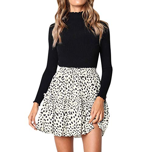(Colmkley Women's Ruffle Short Skirt, Boho A-line Skater Mini Skirt Casual Party White)