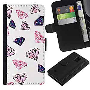 WINCASE (No Para S5) Cuadro Funda Voltear Cuero Ranura Tarjetas TPU Carcasas Protectora Cover Case Para Samsung Galaxy S5 Mini, SM-G800 - brillo de diamantes de color rosa joyas minimalistas en color blanco