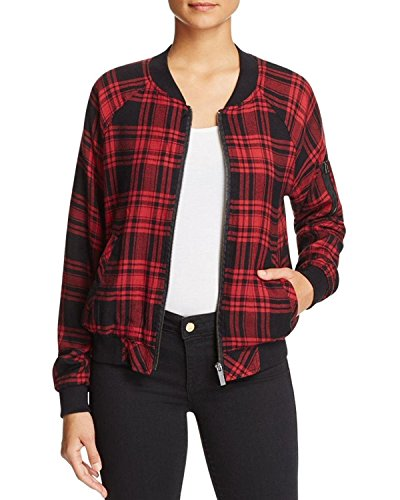Sanctuary Womens Dylan Plaid Long Sleeves Bomber Jacket Red S (Bomber Plaid)
