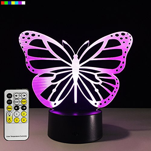 terfly 7 Colors Change with Remote Birthday Gifts for Her Girl Gifts for A Girl or Animal Lover or Baby Room Decor by Easuntec (Butterfly) (Butterflies Touch Lamp)