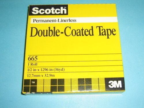 Scotch, Premanent-Linerless, Double Coated Tape, 665, 1/2