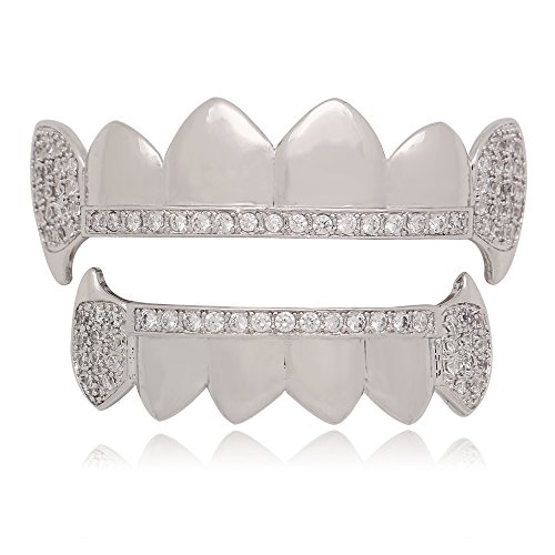 - LuReen Siver Vampire Fangs Pave CZ 6 Top and Bottom Grillz Teeth Sets + 2 Extra Molding Bars