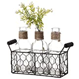 V-More Rustic Glass Bottle Flower Bud Vase with Chicken Wire Basket and Jute Rope 7.87-inch Tall for Home Decor Wedding Party and Celebration (Set of 1)
