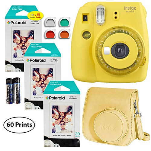 Fujifilm Instax Mini 9 Instant Camera (Yellow with Clear Accents), 3X Twin Pack Instant Film (60 Sheets), and Instax Groovy Case Bundle (Yellow Polaroid Camera With Film)