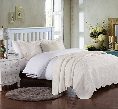 Brandream Romantic Cream White Purple Green Coverlet Quilt Set Queen King Size Embroidery Bedspread (Chenille Floral)