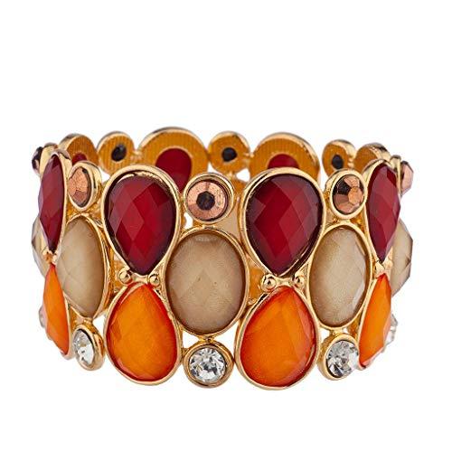 - Lux Accessories Goldtone Red Orange Tan Acrylic Teardrop Stone Stretch Bracelet