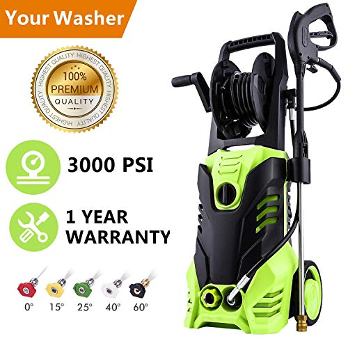 Hurbo Electric High Pressure Washer 3000PSI 1.8GPM Power Pressure Washer Machine with Power Hose Gun Turbo Wand 5 Interchangeable Nozzles Review