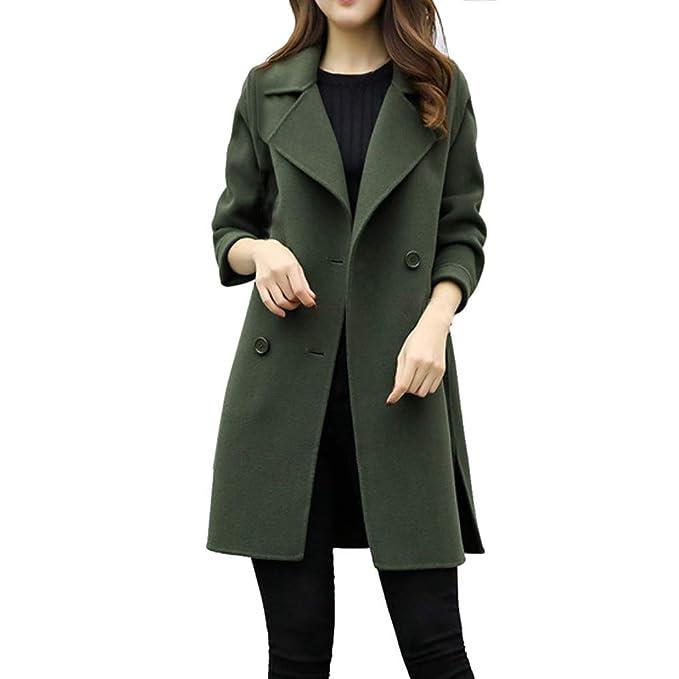 premium selection 794f7 0b420 DAY.LIN Winter Mantel Damen,Langer Mantel Revers Parka Jacke  StrickjackeOutwear