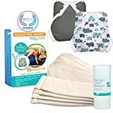 Tidy Tots Diaper Hassle Free 4 Diaper Snap Essential Set With Hippo and Grey Covers