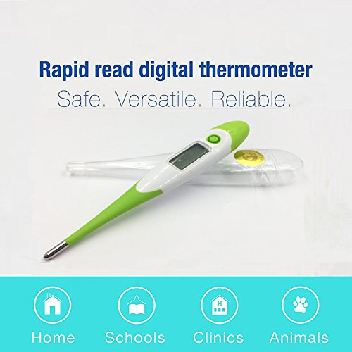 Medical Digital Thermometer 10 Sec Quick Read with Fever Indicator and Flexible Tip - Best Adults/ Baby /Kids /Infant Thermometer- Basal Armpit /Rectal /Oral Temperature Thermometer