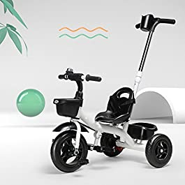 LiuQ Foldable Baby Strollers Creative Detachable Height Adjustable Push Handle Children's Tricycle, 18 Months – 6 Years Old Boys & Girls Baby Trolley, Kids Pedal Trike Bike Lightweight Design