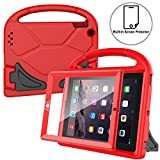 AVAWO Kids Case Built-in Screen Protector for iPad 2 3 4 - Shockproof Handle Stand Kids Friendly Compatible with iPad 2nd 3rd 4th Generation (Red)
