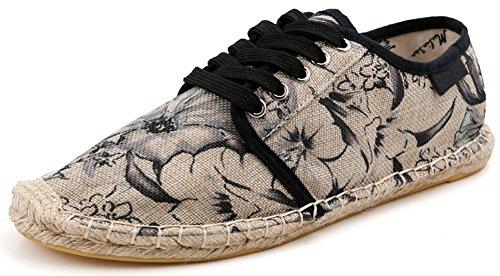 Plaid Espadrille - Plaid&Plain Unisex Floral Print Lace Up Espadrilles Loafer Cap Toe Flats Black 41