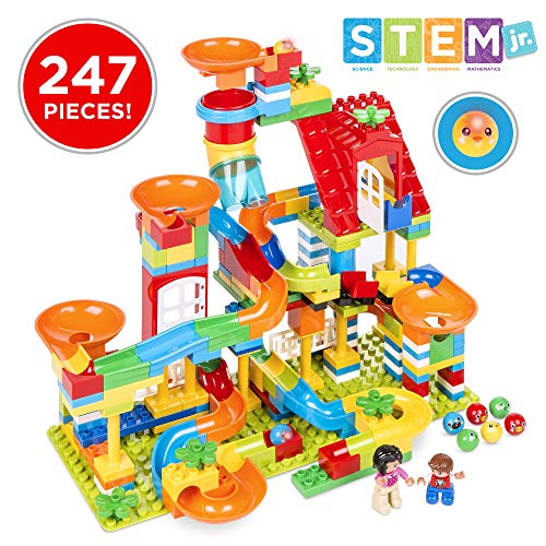 Best Choice Products Kids 247-Piece Building Blocks Marble Run STEM Toy Puzzle Race Track Roller Coaster Set w/Ramps, Slides, Funnels