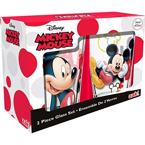 Zak Designs MMOB-B081 Disney 2-piece Set of 16 oz. Glass Tumblers, Mickey Mouse, 2-piece ()