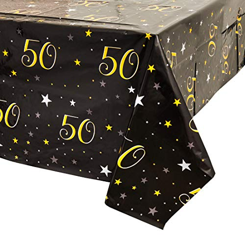 50 Birthday Decorations (Juvale 50th Birthday Table Cloth Cover Party Decoration (3 Pack) 54 x 108)