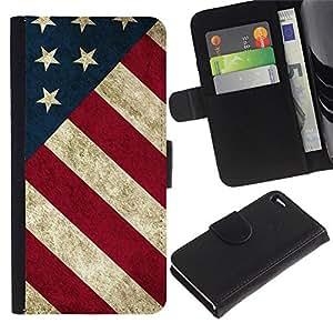 iBinBang / Flip Funda de Cuero Case Cover - Stripe Flag American Rustic Patriotic - Apple Iphone 4 / 4S