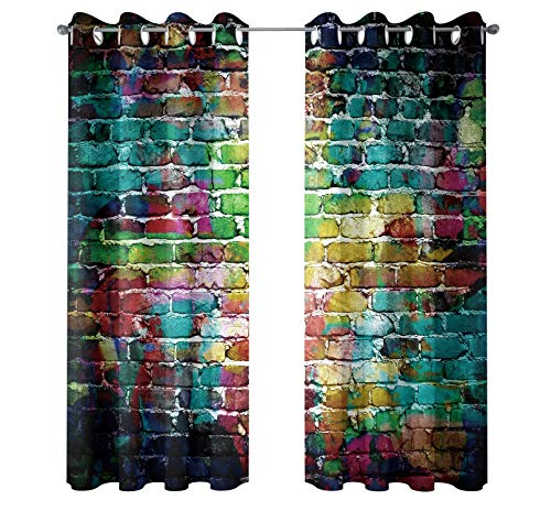 Riyidecor Colorful Brick Blackout Curtains Graffiti Wall Painted Shabby Chic Abstract Rustic Colors Street Art Fresco Printed Living Room Bedroom Window Drapes Treatment Fabric (2 Panels 52 x 84 Inch) (Window Treatments Spanish Style)