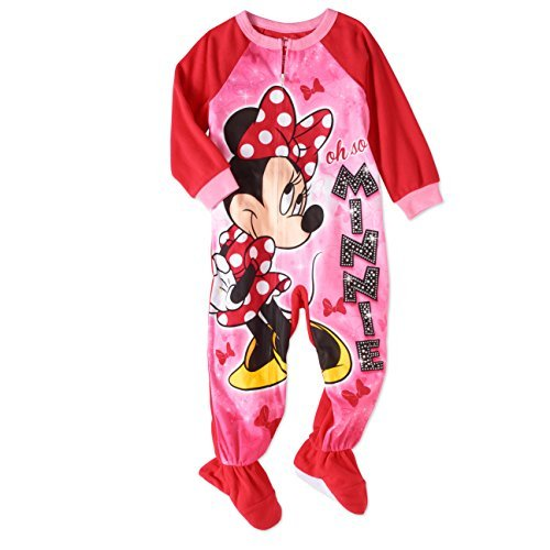 AME Sleepwear Disney Minnie Mouse Fleece Footed Blanket Pajama Sleeper Little Girls (Footed Pajamas Blanket Sleeper)