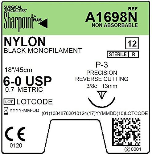 A1698N Sharpoint PLUS monofilament nylon suture, 6-0, Black, 18
