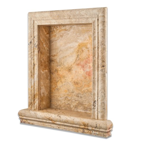 Monet Valencia Travertine Honed Hand-Made Custom Shampoo Niche - LARGE by Oracle Tile & Stone
