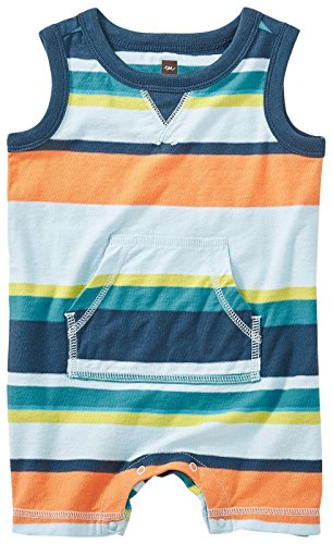 Tea Collection Baby Boys' Namadgi Tank Romper, Ocean Mist, 3-6M (Collection Tea Clothes)