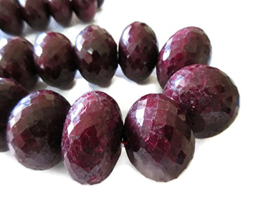 22mm To 30mm Huge Rare Natural Ruby Faceted Rondelle Beads, One Of A Kind, 20 Inch Strand, GDS84