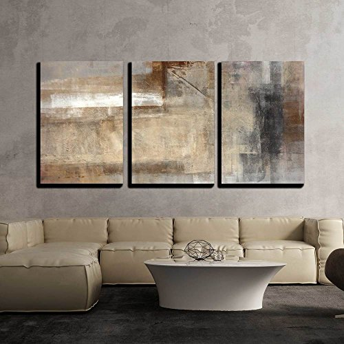 Brown Art Decor (wall26 - 3 Piece Canvas Wall Art - Brown and Beige Abstract Art Painting - Modern Home Decor Stretched and Framed Ready to Hang - 16