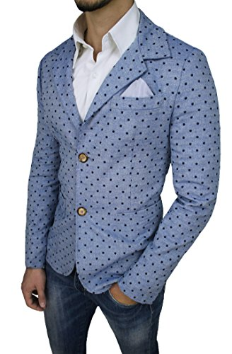 Giacca uomo casual celeste pois slim fit aderente made in Italy sartoriale