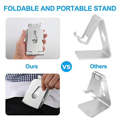PECHAM Multi-Angle Stand for Cell Phone, Desk Stand Mount for Nintendo Switch, Iphone X 8 7 6 6s Plus 5 5s 5c, SamSung, Galaxy, Android Smartphones, Tablets, Universal Phone Holder- Silver by PECHAM (Image #3)