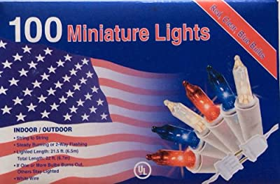 100 RED WHITE BLUE Lights Minature July 4th Christmas Mini Indoor / outdoor