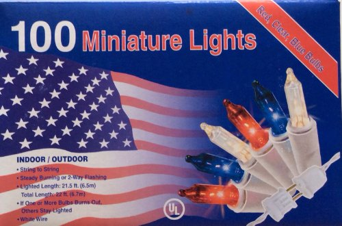 100 RED WHITE BLUE Lights Minature July 4th Christmas Mini Indoor / - Lights Christmas Lighted