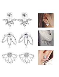 Jstyle 3 Pairs Lotus Flower Earrings Jackets For Women Girls Simple Chic Ear Stud Earrings