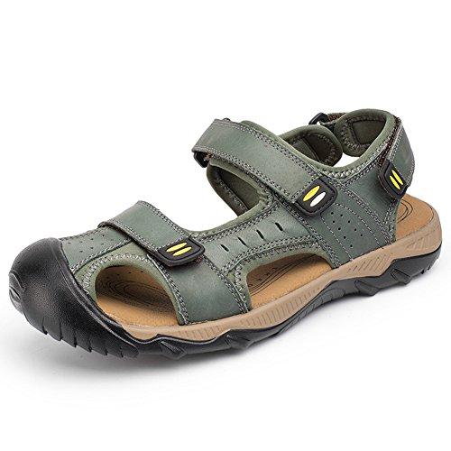 PhiFA Herren Leder Athletic Outdoor Walking und Wandern Sandalen Geschlossene Zehe Grün 2