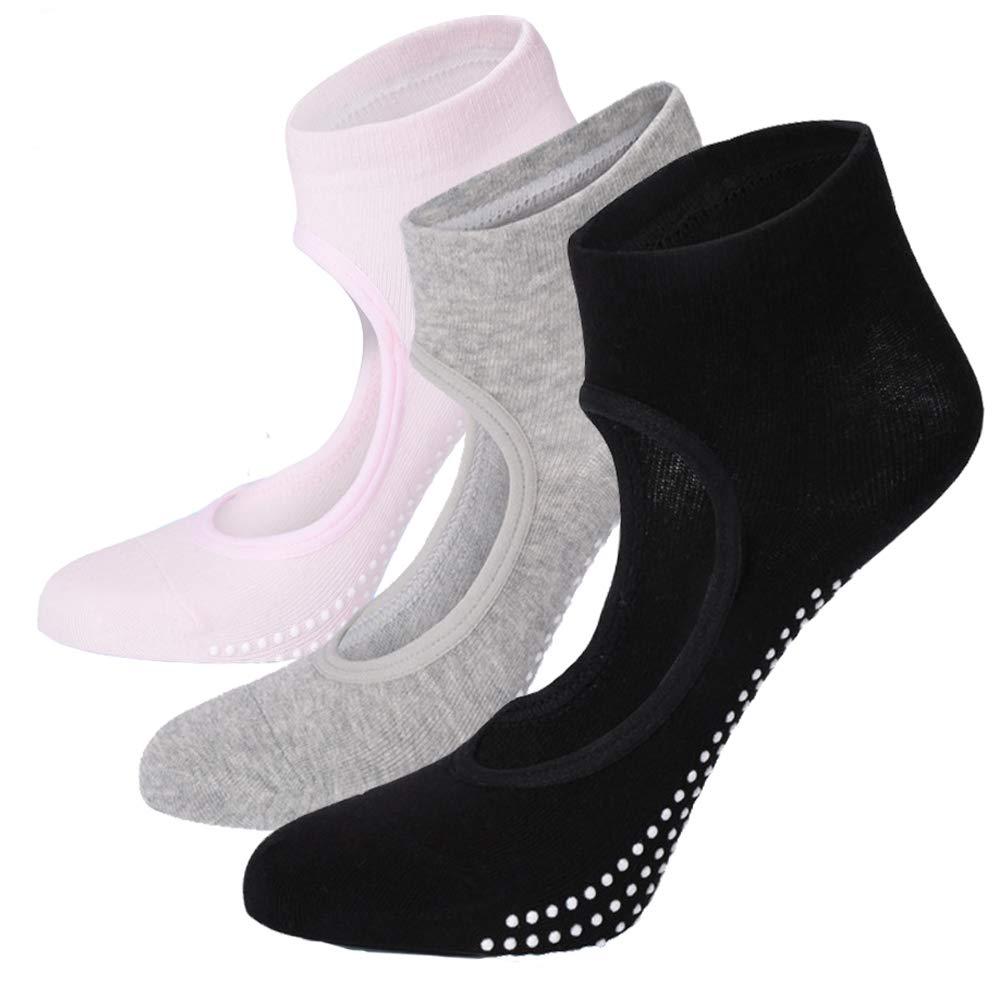 Ballet Barre Yoga Socks - Elutong 2018 New Arrival 3 Pack Anti Skip Pilates Grips Socks for women(Black+Grey+Pink) by Elutong